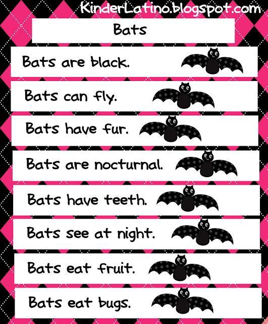 A free bat English anchor chart. Halloween preschool