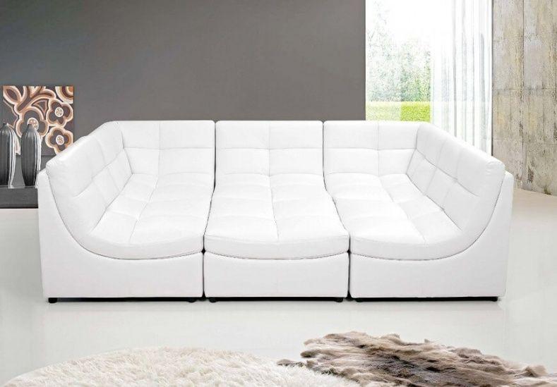 Beau White Leather Modular Sofa