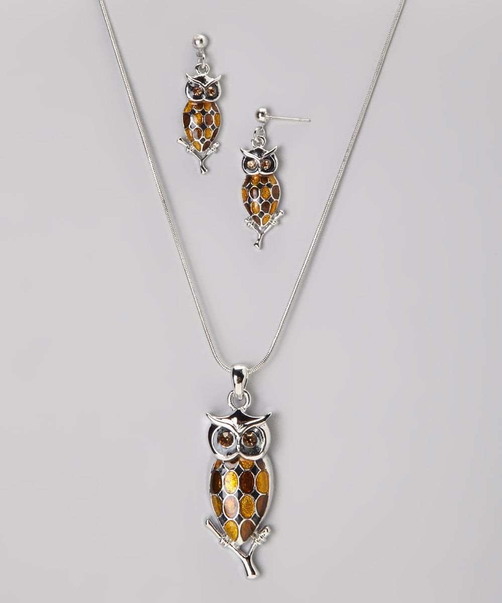 Brown & Silver Owl Necklace And Drop Earrings
