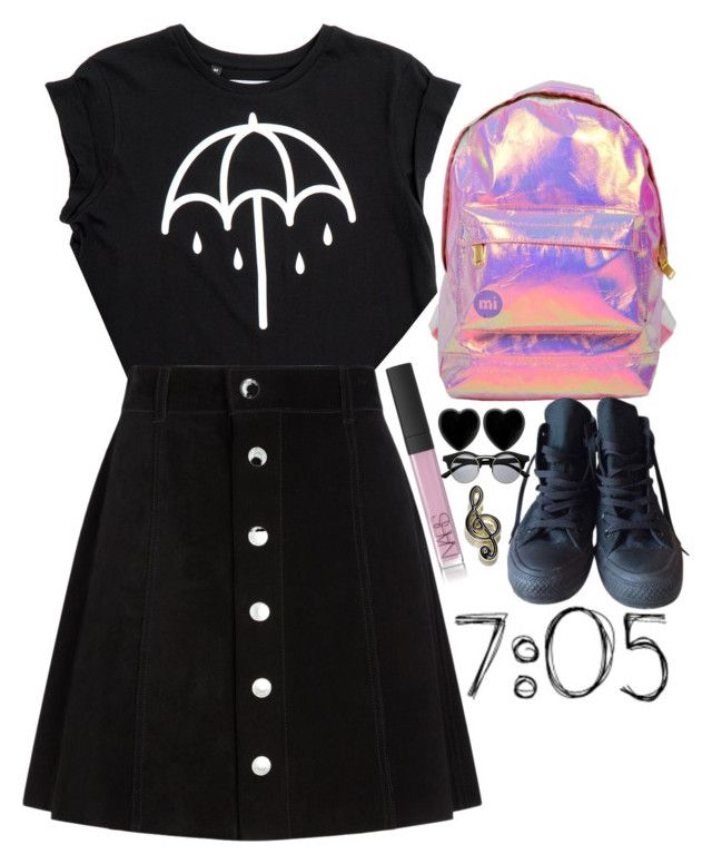 """""""pink fire"""" by starscounter394 on Polyvore featuring moda, Miss Selfridge, AG Adriano Goldschmied, Converse, NARS Cosmetics, Dollydagger, Retrò y Love Bravery"""