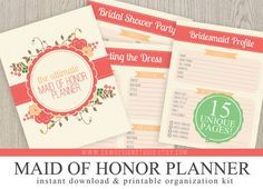 Ultimate Maid of Honor Wedding Planner Instant Download