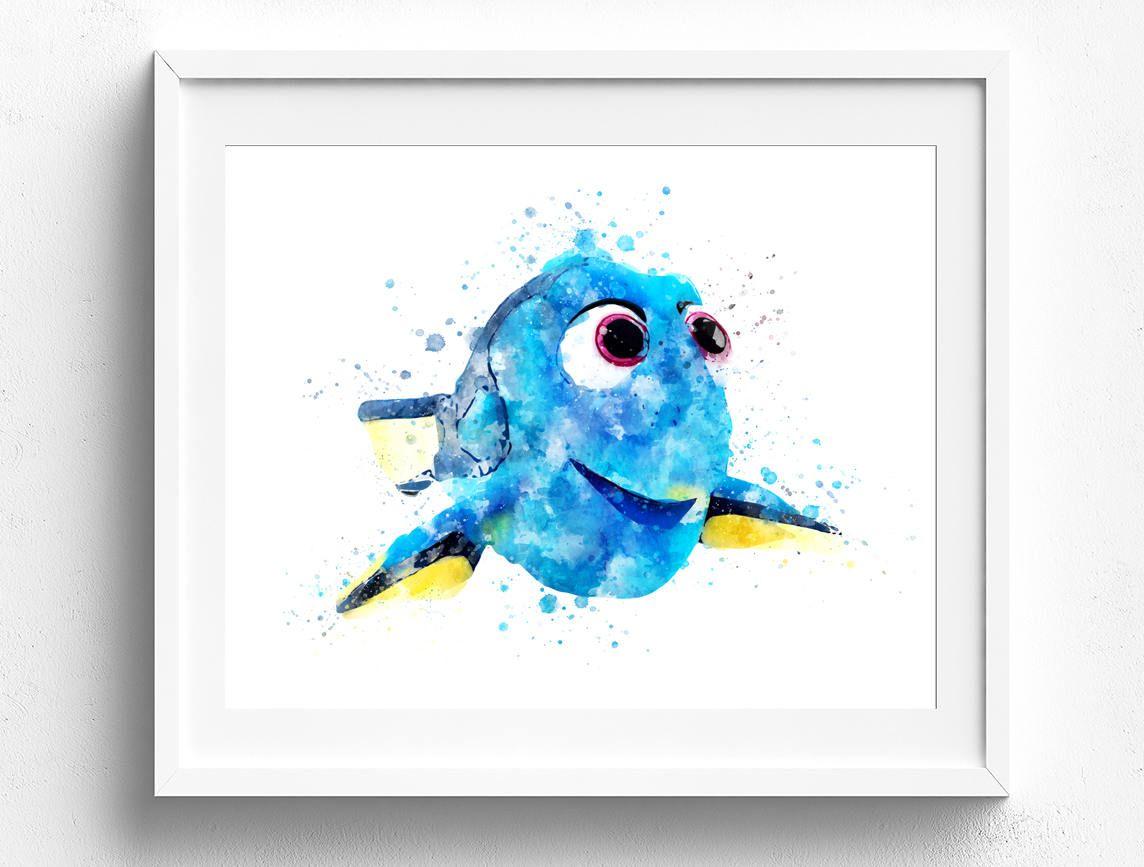 Disney Wall Art, Finding Dory Art, Pixar Watercolor, Kids Room Wall Art,  Kids Room Art, Disney Art Prints, Disney Art Poster, Disney Decor