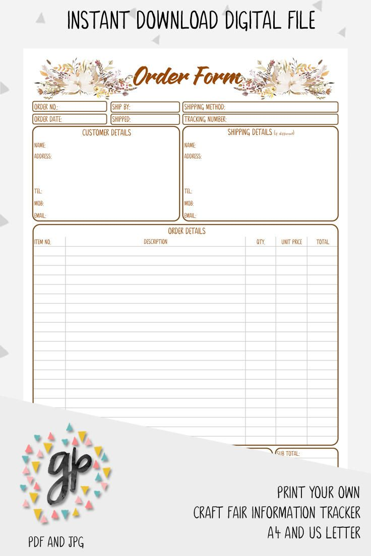 Customer Order Form Printables Craftbusiness Craftfairprintable