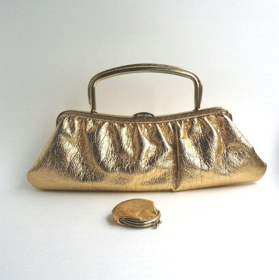 Metallic Gold Purse Metallic Gold Handbag Metallic Gold