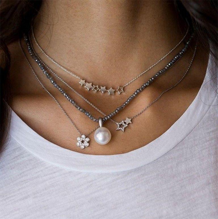 Cómo Combinar Varios Collares A La Vez Como Una Chica Fashion Collares De Plata Pulseras De Plata Colgantes De Plata Esterlina
