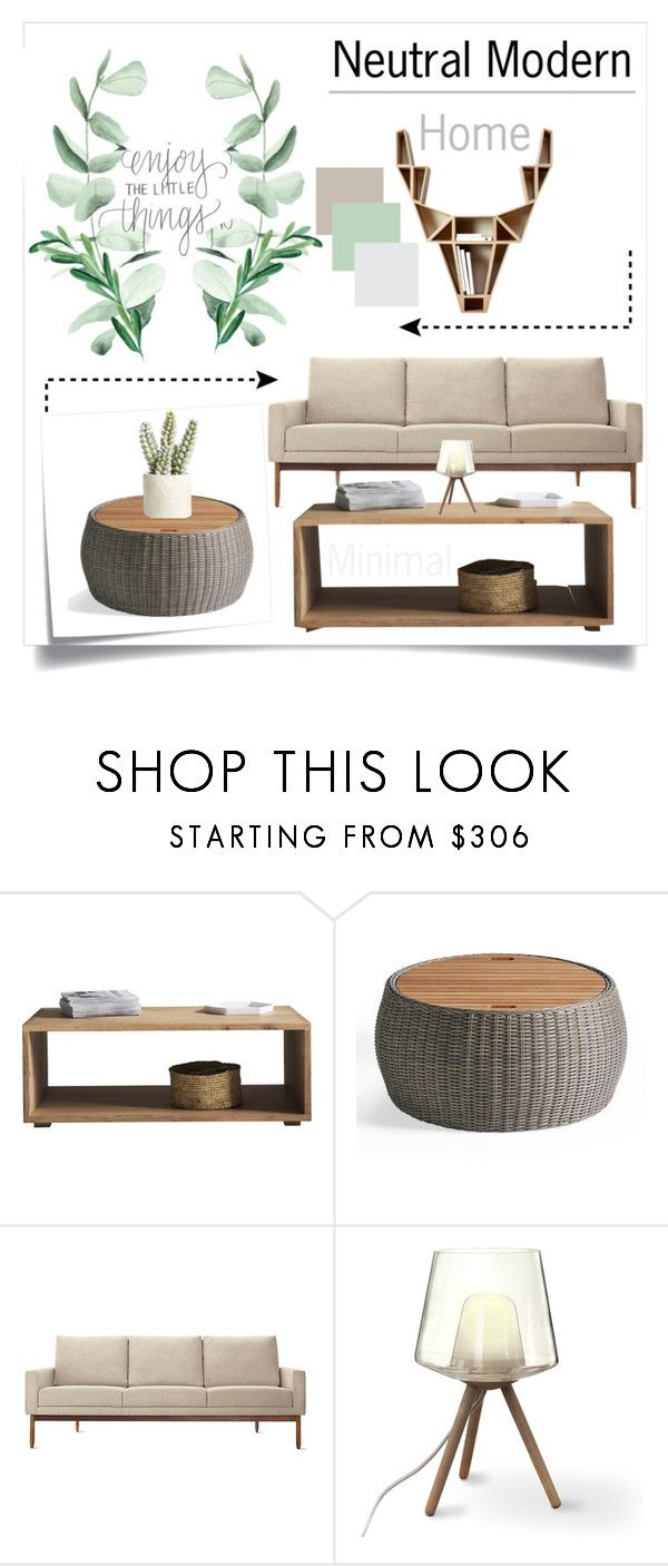 """Neutral Modern"" by doragutierrez ❤ liked on Polyvore featuring interior, interiors, interior design, home, home decor, interior decorating, Post-It, Grandin Road, Design Within Reach and Allstate Floral"