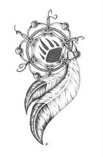 Dreamcatcher--change the paw in the middle to a wolf paw and I could even add in the arrowhead and have my tattoo. :)