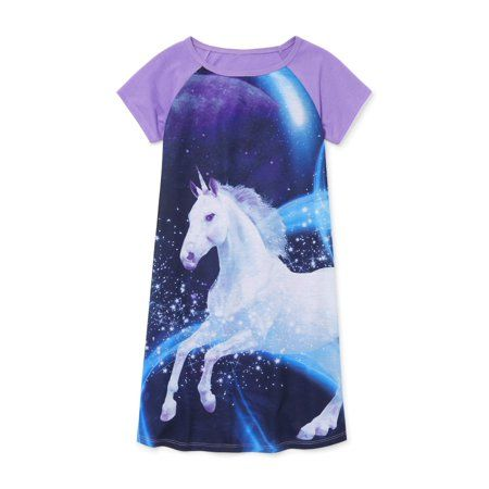 Cute Kids Girls Unicorn Horse Long Sleeve Skirt Dress Pajamas Sleepwear 4-10Y