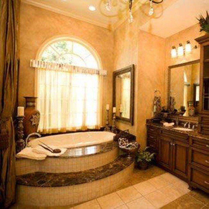 Tuscan Bathroom Design With Oval Tub And Faux Wall Paint Glamorous Tuscan Bathroom Design Decorating Design