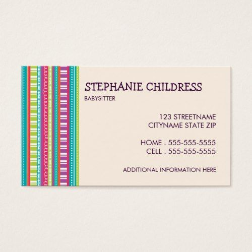 Colorful Stripes Babysitting Business Card Business cards and Business - baby sitting cards