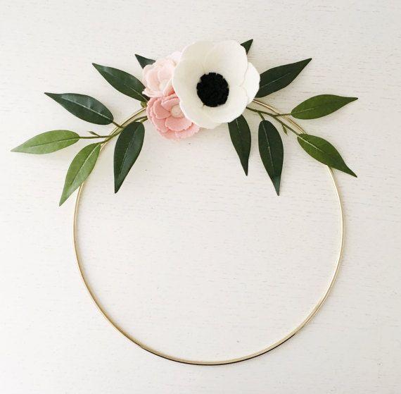 Photo of Wreath || Wreaths || Flower Wreath || Spring Wreath || Felt Flower Wreath || Modern Wreath || Wedding Wreath || Wreath Decor || Gold Wreath