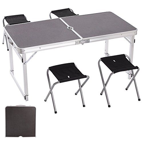 Camp Solutions Portable Folding Table Sy And Lightweight Aluminum Legs With 4 Chairs 3 Adjule Heights Feet For Indoor Outdoor Use