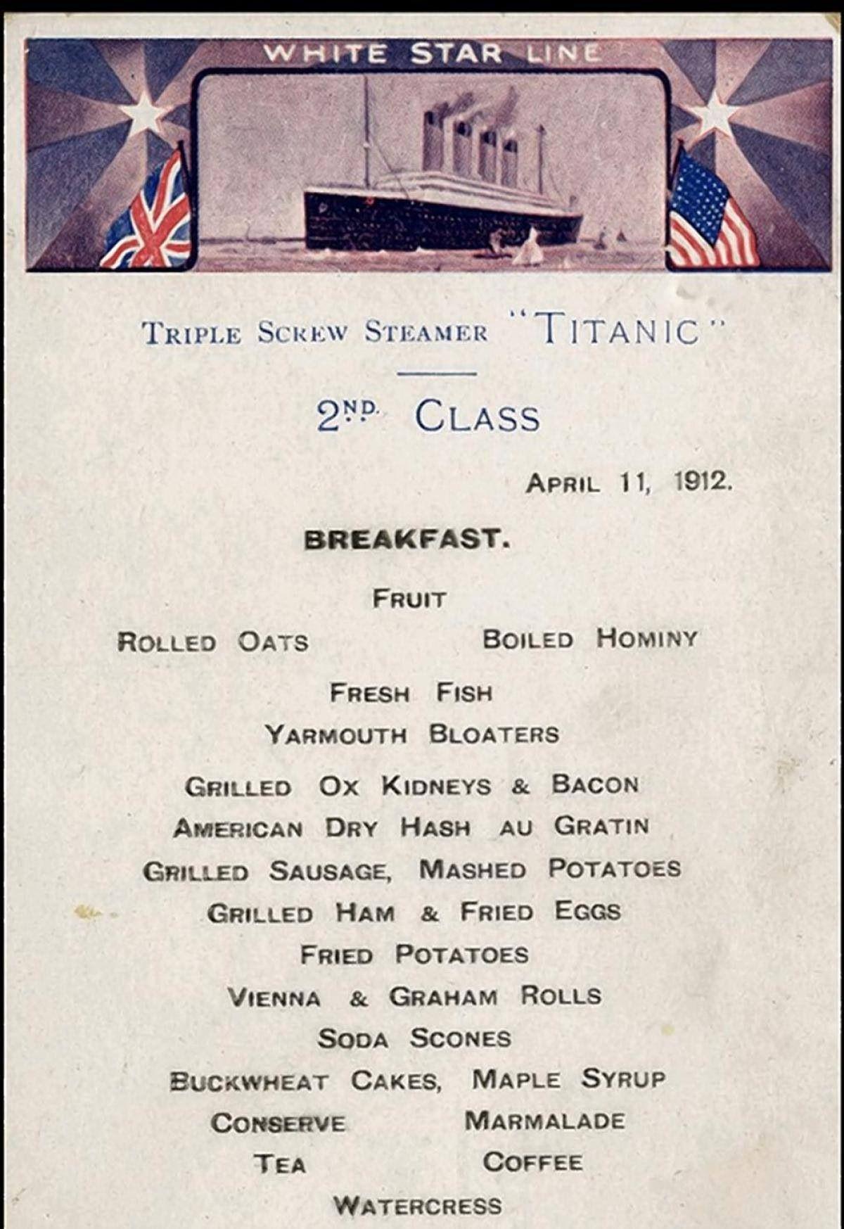 Titanic's second class restaurant menu