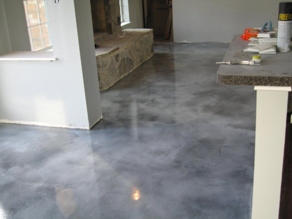 Acid stain concrete vivid decorative concrete fort for Stained polished concrete floor