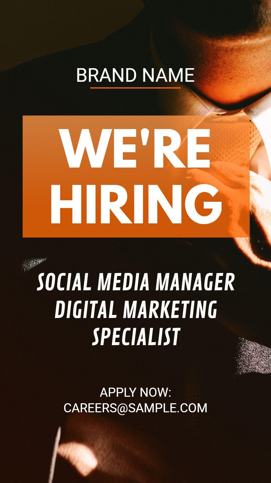we u0026 39 re hiring job vacancy instagram story ad template