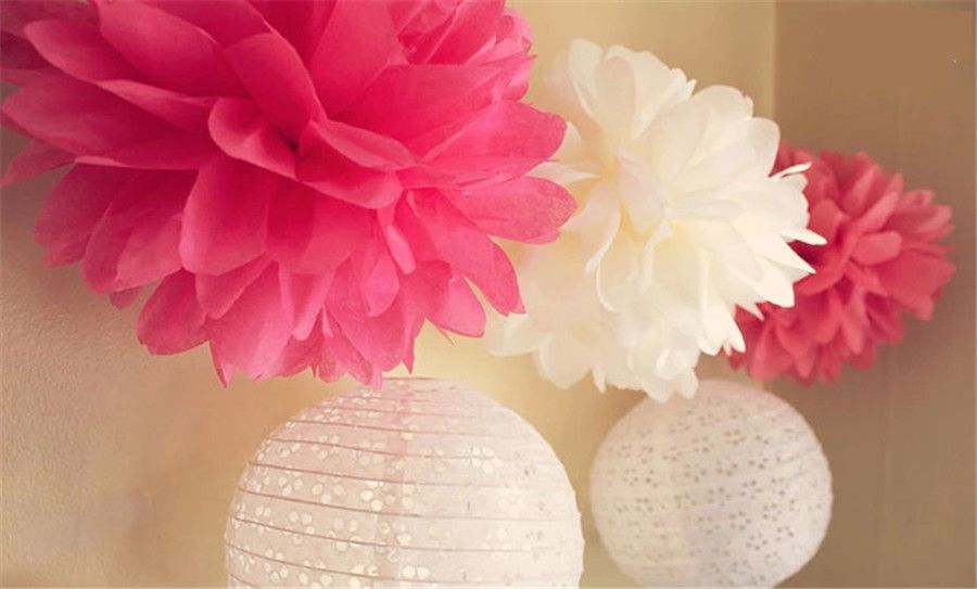 Tissue Paper Ball Decorations Ezfluff 16'' Fuchsia  Hot Pink Tissue Paper Pom Poms Flowers