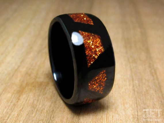 Bentwood Ring Ebony with Patterned Orange by JETbentwoodjewelry  wedding, wedding ring, ring, anniversary ring, anniversary, weddings, jewelry, bentwood jewelry