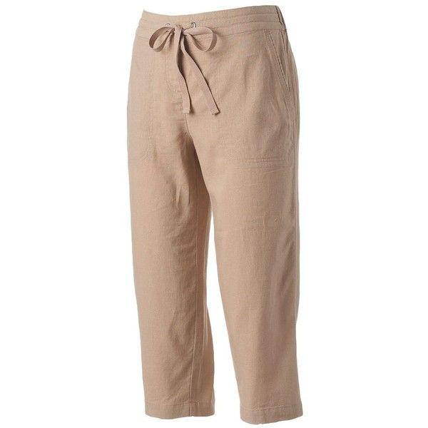 Petite Croft & Barrow® Linen-Blend Capris ($22) ❤ liked on Polyvore