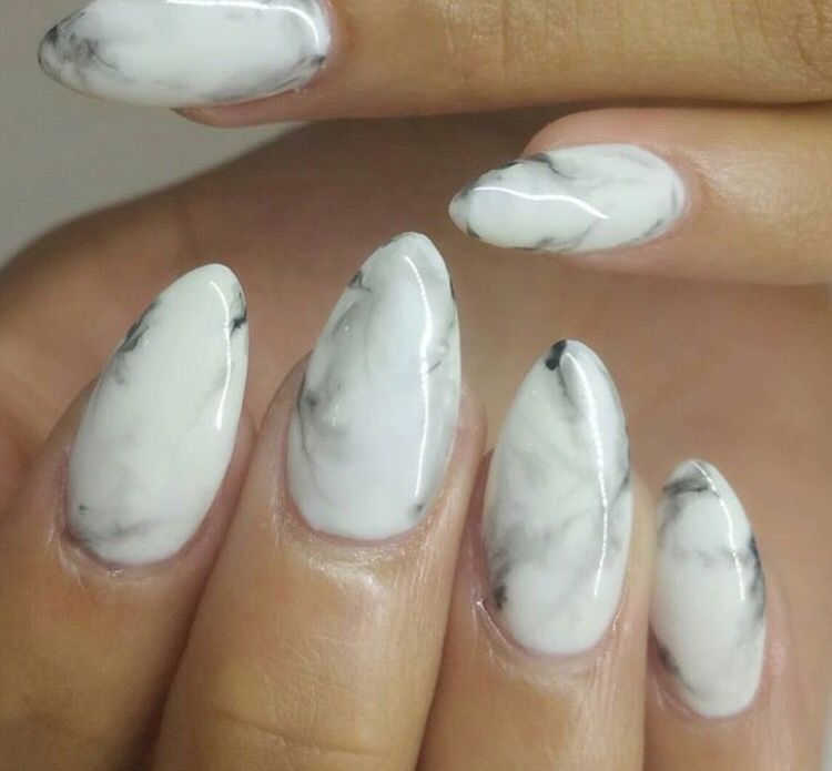 marble almond shaped nails