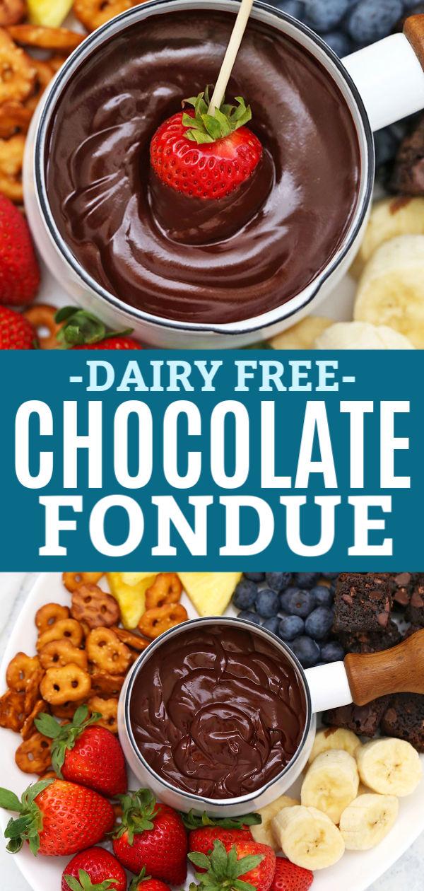 Dairy Free Chocolate Fondue (Gluten Free + Vegan!)