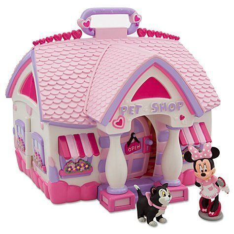 Minnie Mouse Pet Shop Play Set by Disney. $49.29. Includes handle for easy portability. Imported. 17'' W (unfolded). Plastic. 8 1/2'' H x 9'' W (folded). Minnie cheerfully invites you to browse her Pet Shop! Join Minnie and Figaro and enjoy hours of playtime with our Pet Shop Play Set featuring all sorts of pet essentials include a folding slide, dog house, food and water bowls, spinning perch, and more!