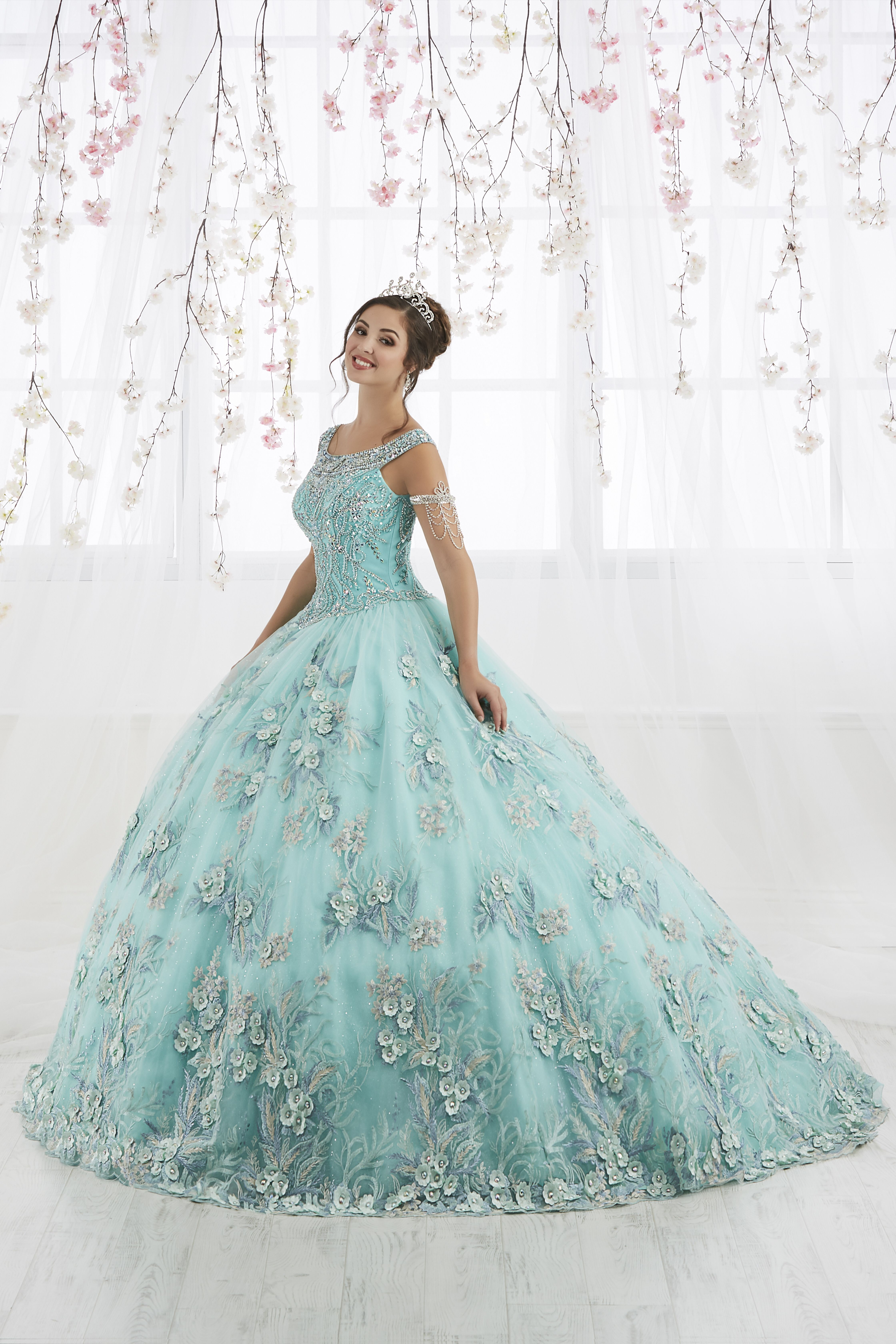 f8fafbba23 Metallic Beaded Sleeveless Quinceanera Dress by House of Wu 26915 in 2019