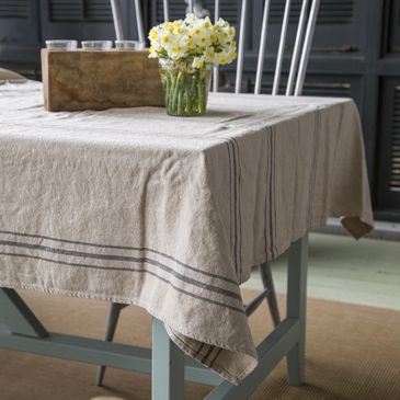 french stripe linen tablecloth shop p allen drop cloth rh pinterest com