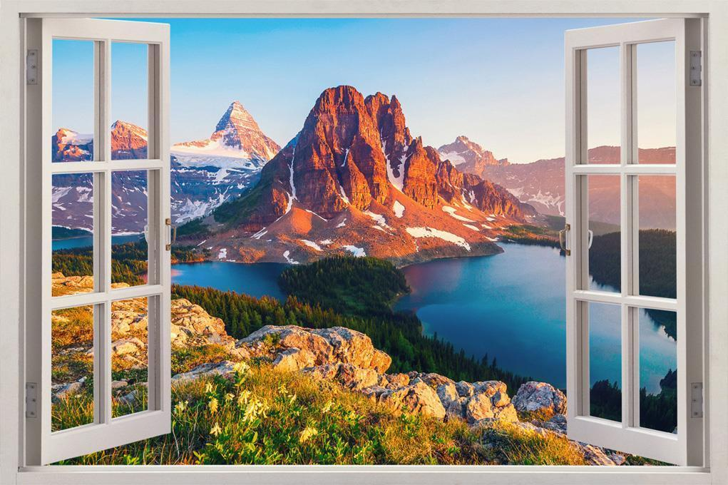 $8.99 - lakes & mountains 3d window view decal wall sticker decor