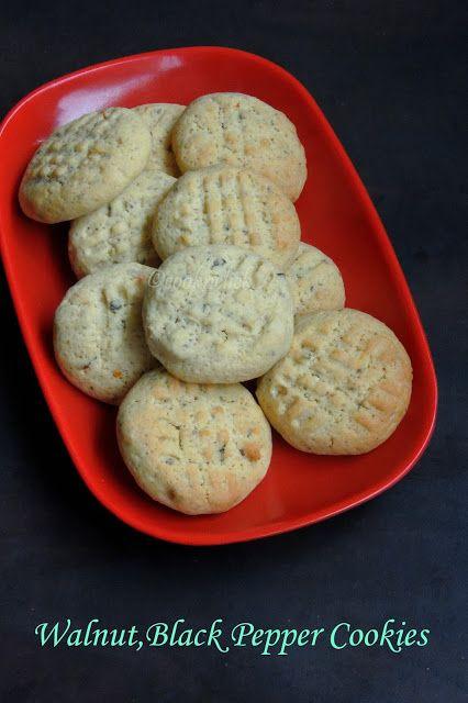 Eggless Walnut-Black Pepper Cookies
