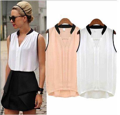 Blusas femeninas 2015 tops de verano imprimen la camiseta sin mangas mujer  blusas elegante para mujer de la gasa ropa mujer blusa más tamaño 65d82a9fdec55
