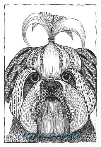 Small And Medium Breed Dogs Matted Print 9 Breeds To Choose From Whimsical Dog Portraits Zentangle Animals Zentangle Drawings