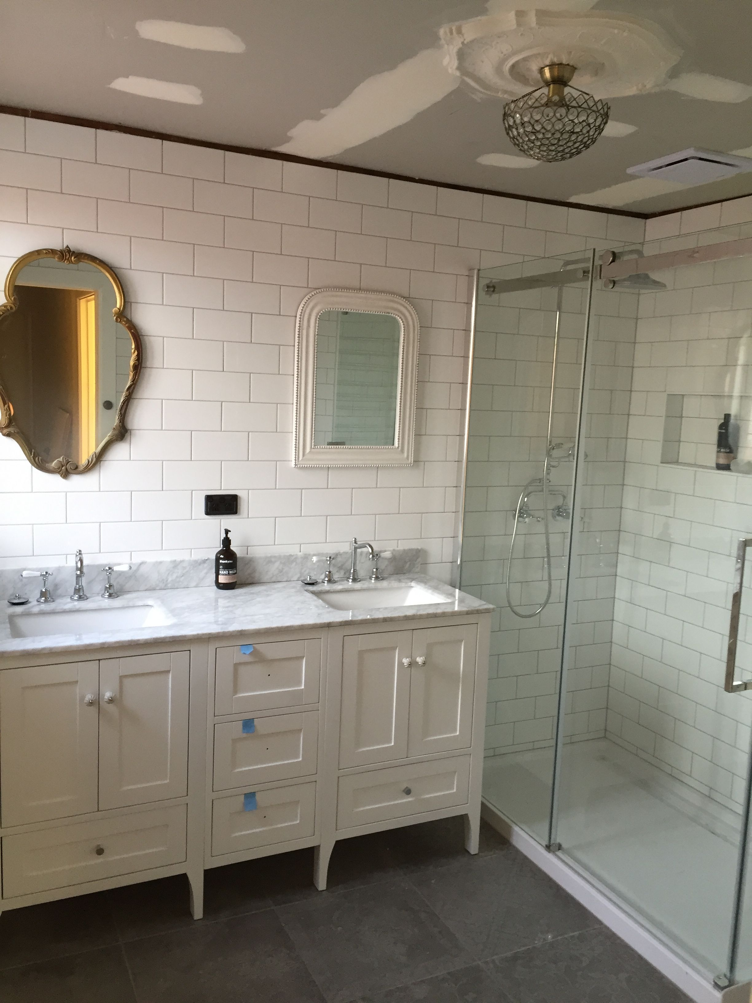 My Ensuite Almost Complete His And Hers Mismatched Vintage Mirrors 1 6m Double Vanit Modern Bathroom Mirrors Bathroom Vanity Designs Bathroom Vanity Makeover