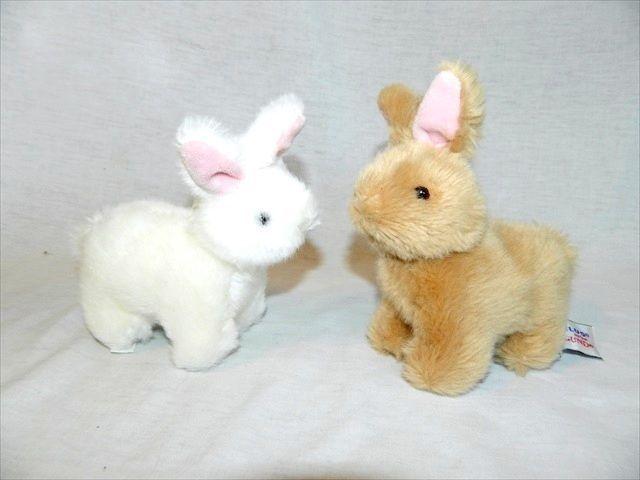 "Set 2 GUND TELUS Mobility Critters 6"" plush Bunny Rabbits White & Light Brown #GUND"