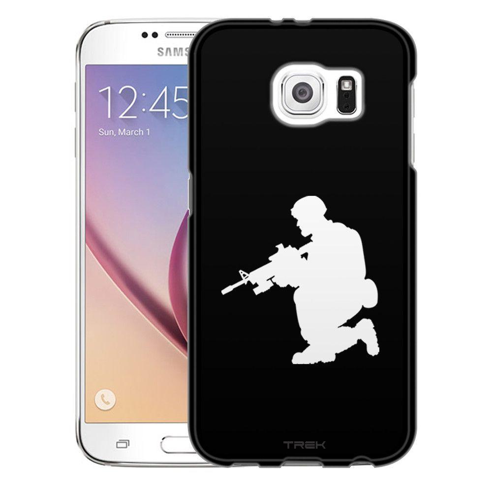 Samsung Galaxy S6 Silhouette Soldier on Black Slim Case