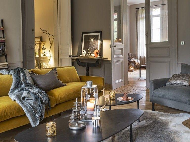 quelle d co pour un salon avec un canap jaune deco et. Black Bedroom Furniture Sets. Home Design Ideas
