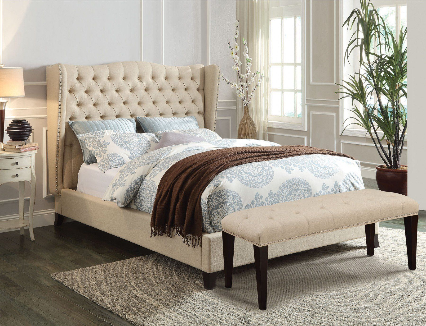 acme faye california king bed beige linen espresso 20644ack