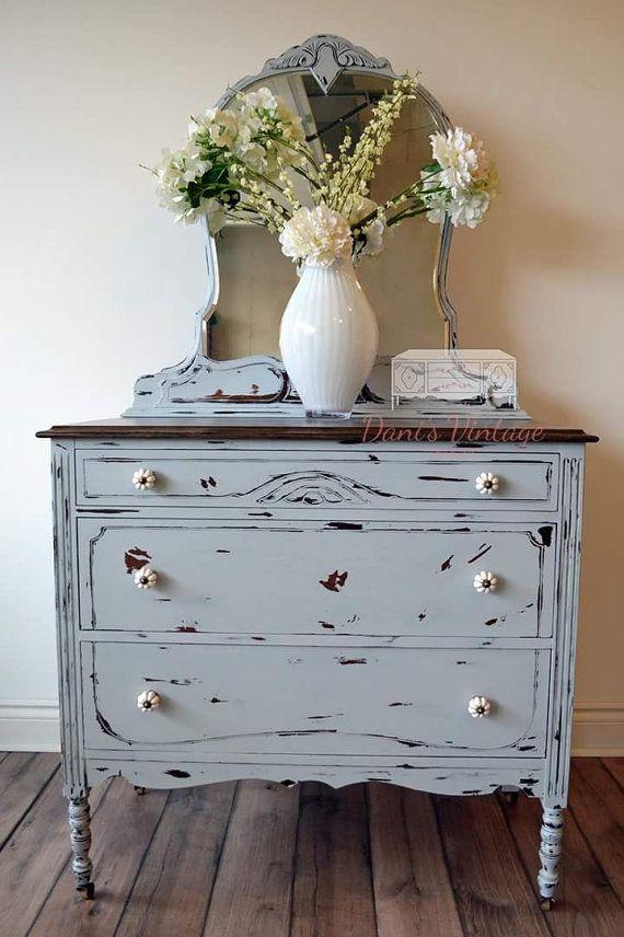 Chippy Grey 3 Drawer Dresser with Mirror by Danisvintagedesigns