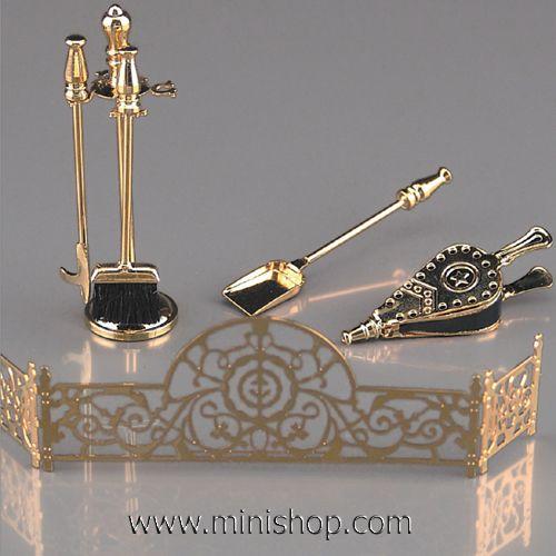 brass fireplace tools set by reutter porzellan dollhouse i am rh pinterest com