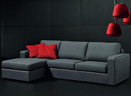 Divano in tessuto con pouf reversibile love sofà divani in tessuto