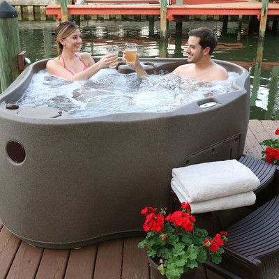 Select 300 2 Person 20 Jet Plug And Play Hot Tub With Led Waterfall Hot Tub Small Hot Tub Pool Landscaping
