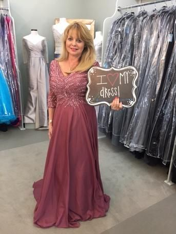 5f98ea51414a Elaine looks gorgeous in this Rosewood colored beaded gown with a chiffon  skirt by Montage by Mon Cheri! Elaine is the Mother of the Groom & the  wedding ...