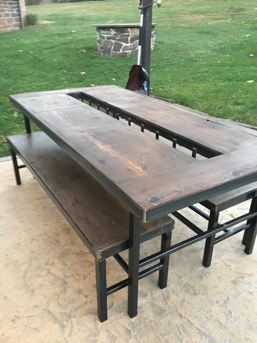 Western Red Cedar Outdoor Table This outdoor patio table is made     Western Red Cedar Outdoor Table This outdoor patio table is made with a  welded metal frame and Western Red Cedar  This makes for a beautif