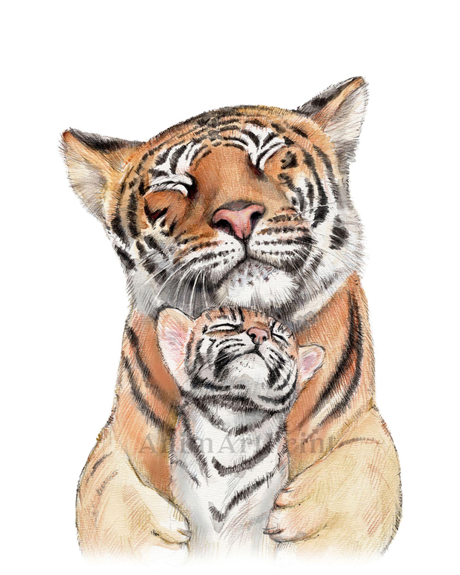 Tiger Mom And Baby Animal Print Painting For Nursery