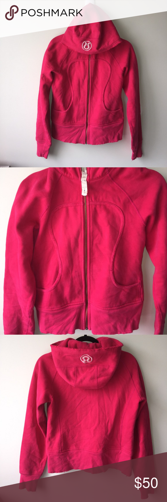 Lululemon pink Scuba hoodie sz 8 Pre loved good condition, has faint stain barely visible, missing Lululemon logo string on zipper.DLJ 13 lululemon athletica Sweaters