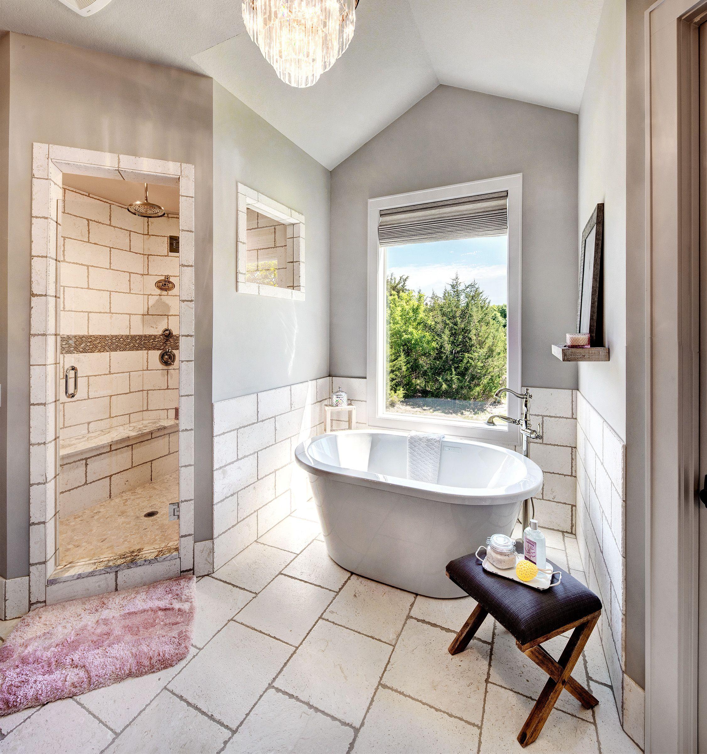 Master Bathroom Walk In Shower Large Window Over Bathtub