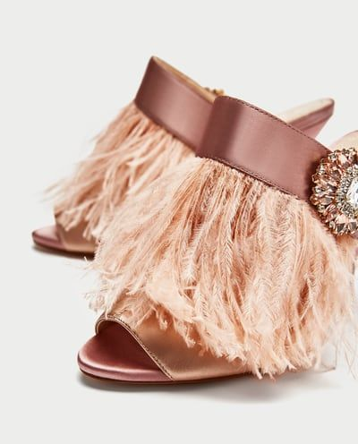 c4a7746f033 HIGH HEEL MULES WITH FEATHER AND BROOCH DETAIL-Sandals-SHOES-WOMAN ...