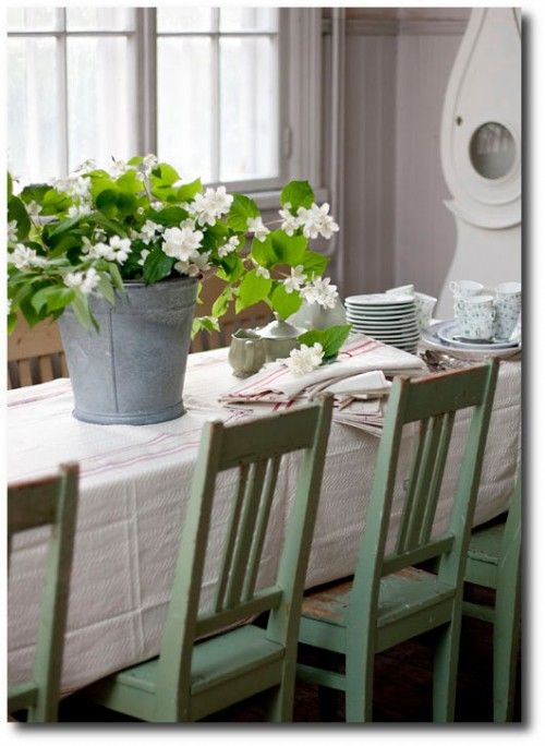 Swedish Table With Green Painted Chairs