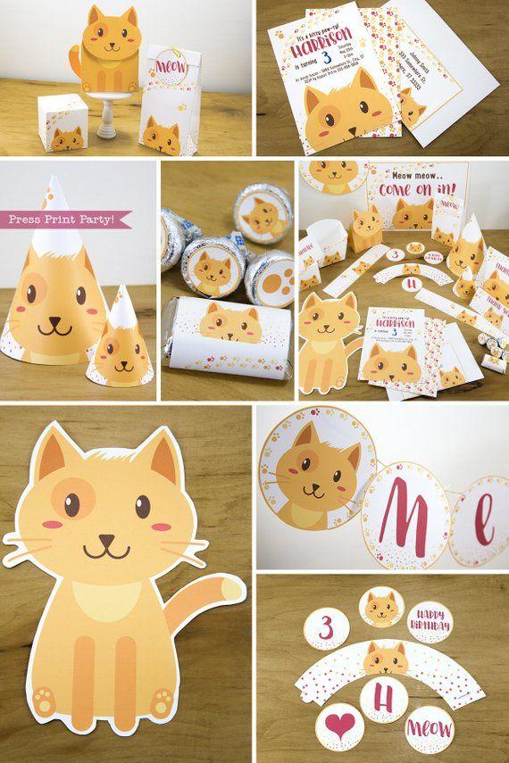 Cat Party Decorations Birthday Decor Pets Invitation Supplies Kitt