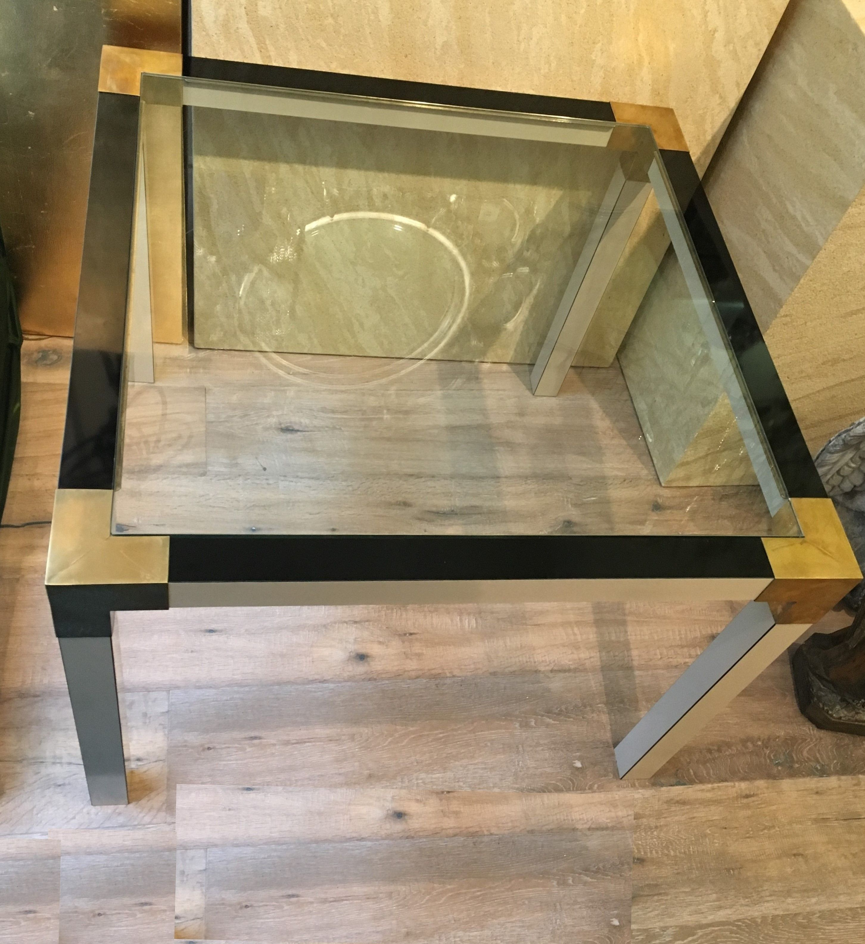 Couchtisch Coffee Table Mit Lack Messing Glas Laiton