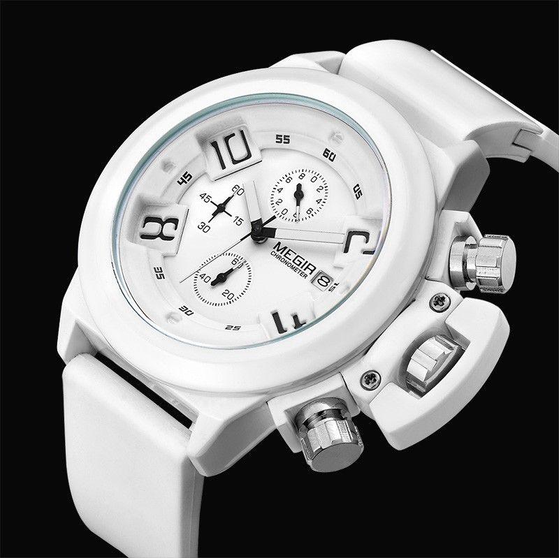 1496379bb2c 2016 MEGIR CHRONOGRAPH Mens Relógios Top Marca de Luxo Militar Do Exército  Silicone Preto Megir Relógios Masculino relógio de Quartzo Dos Homens  Relógio de ...